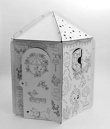 Geïllustreerde kartonnen hut - Pentagon