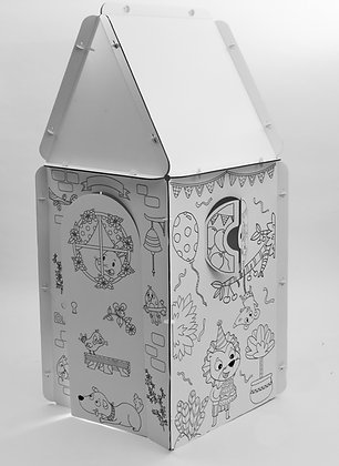 Illustrated cardboard hut -Tetragone with triangle and square roofs
