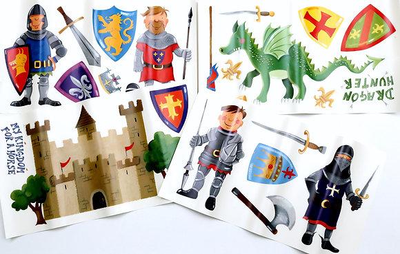 Autocollants chevaliers et dragons