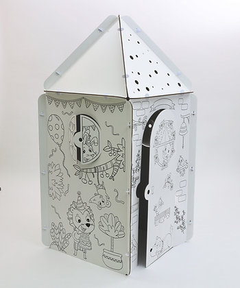 Illustrated cardboard hut - Tetragone with triangle roof