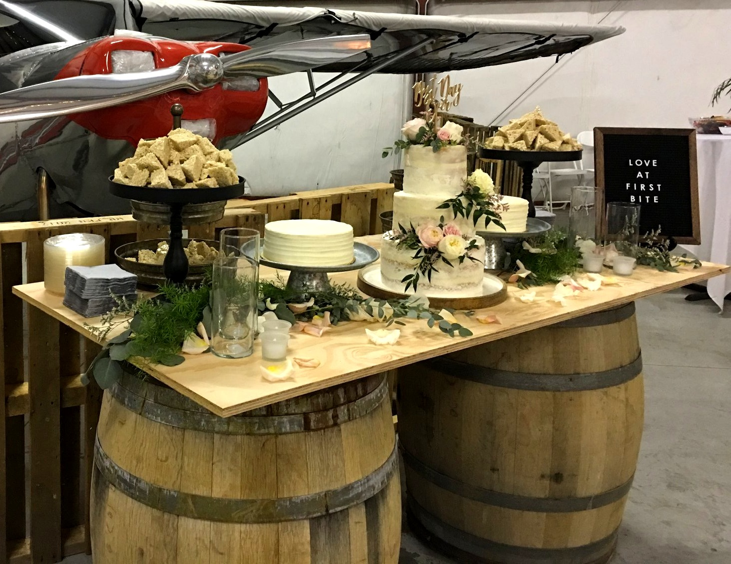 Dessert Table in the Airport Hanger