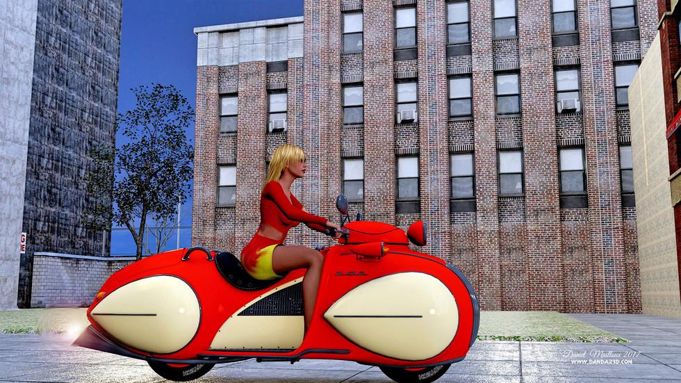 Bike girl leaving town