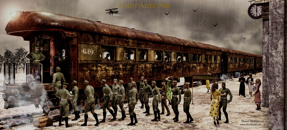Soldiers at the train station