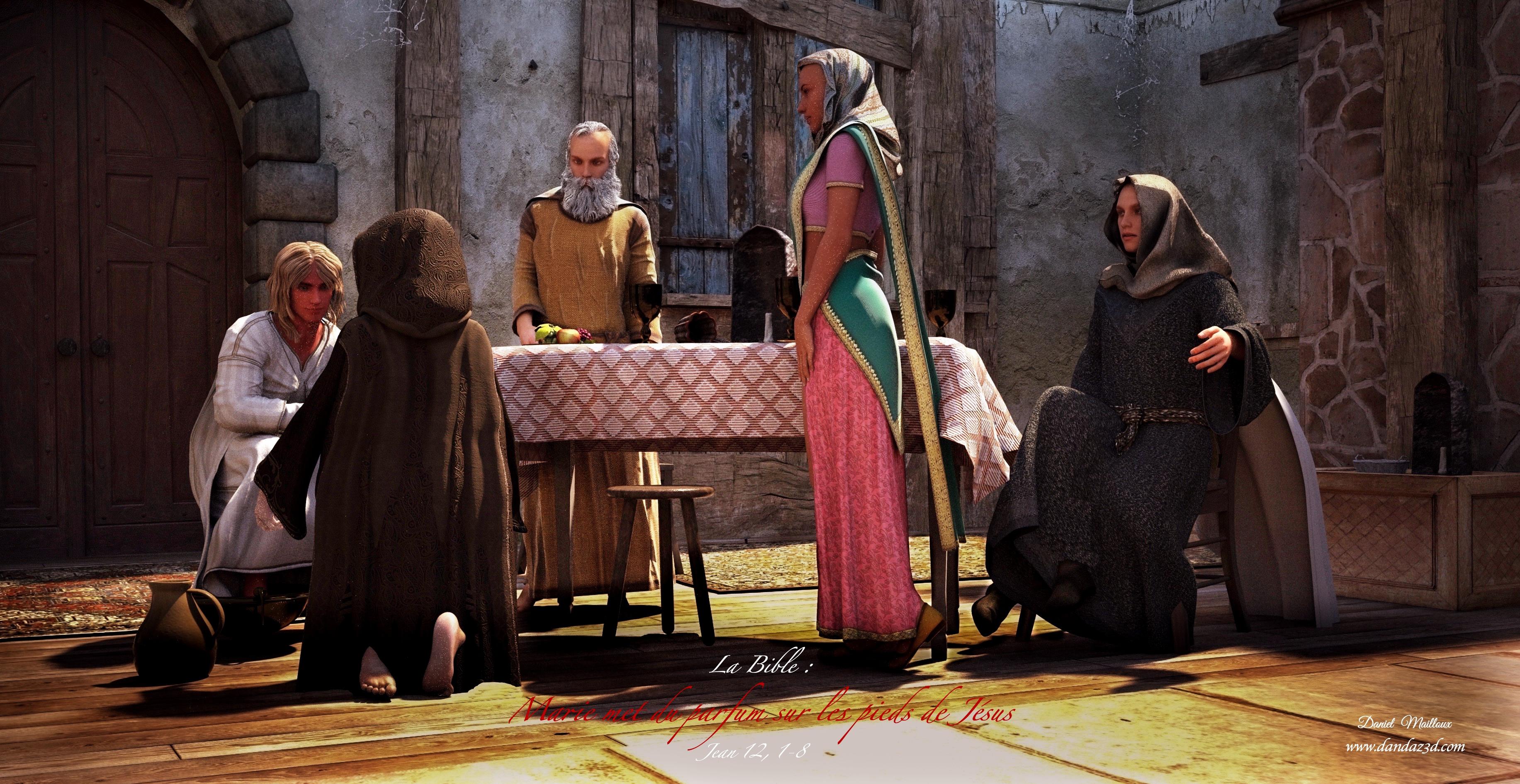 Marie met du parfum pieds Jésus