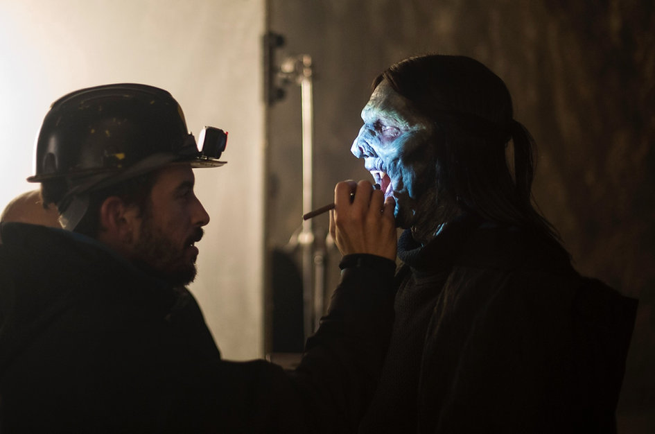 Panos Kondylis, on the set of Dampyr the Movie, touching up David Morrissey's Makeup as Gorka