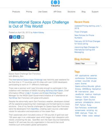 Tropo + International Space Apps Challenge