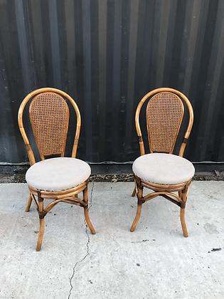 Paire de chaises bistrot rotin et cannage
