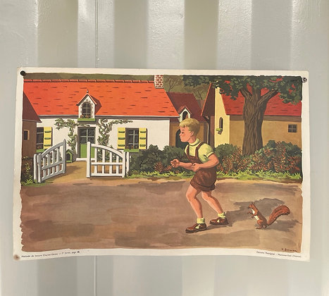 Affiche ancienne scolaire Rossignol