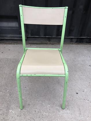 Chaise scolaire vert & crème