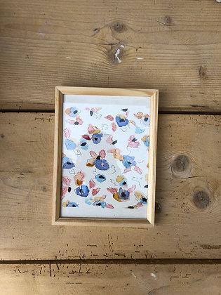 Aquarelle motifs floraux encadrée Terracota & Parme & Rose