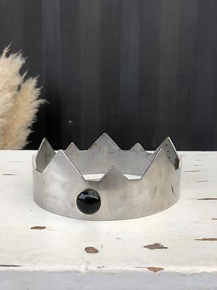 Couronne artisanale en métal argenté