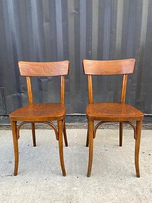 Paire de chaises bistrot en bois