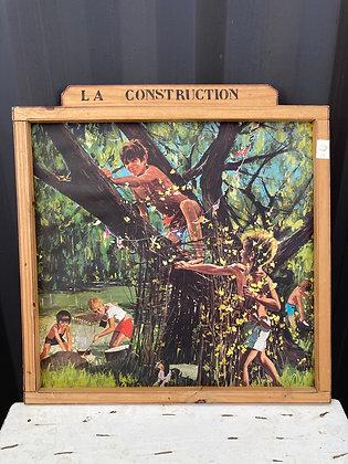 Affiche ancienne recto/verso dans un cadre bois artisanal
