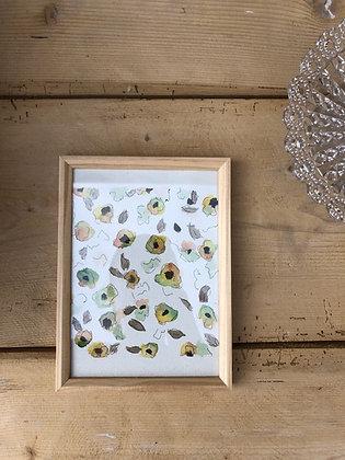 Aquarelle motifs floraux encadrée Vert & Abricot