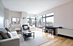 Oversized-Corner-Window-Idea-Also-Pretty-Long-Island-City-Apartment-With-Contemporary-Dining-Furnitu