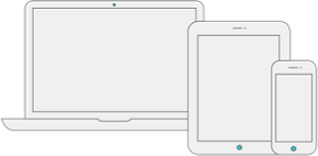 Icon of a laptop, tablet and smartphone showing they can all be used to control BLS equipment for in-person EMDR therapy