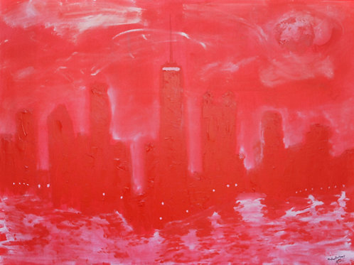 """Red Chicago, Oil 36""""x48"""""""