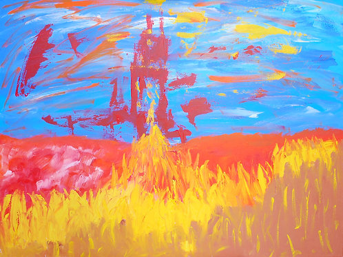 """Watch Tower, Oil 30""""x40"""""""