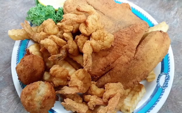 Our Tilapia and Shrimp dinner combo: yum!