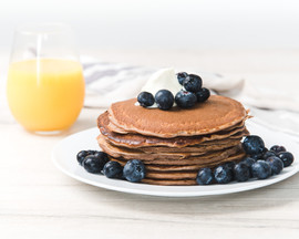 Pancake topped with blueberriesHR-3 02-W