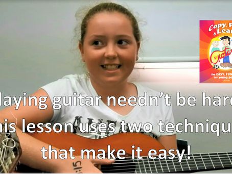 Playing guitar needn't be hard. This lesson uses two techniques that make it easy!