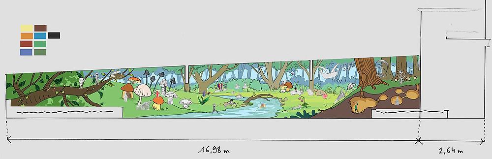 Un projet pédagogique de fresque murale.