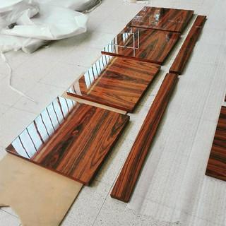High gloss varnishing - iron wood doors.