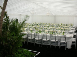 Our seasonal Champagne Lawn Marquee can dress up to suit the theme of your next event
