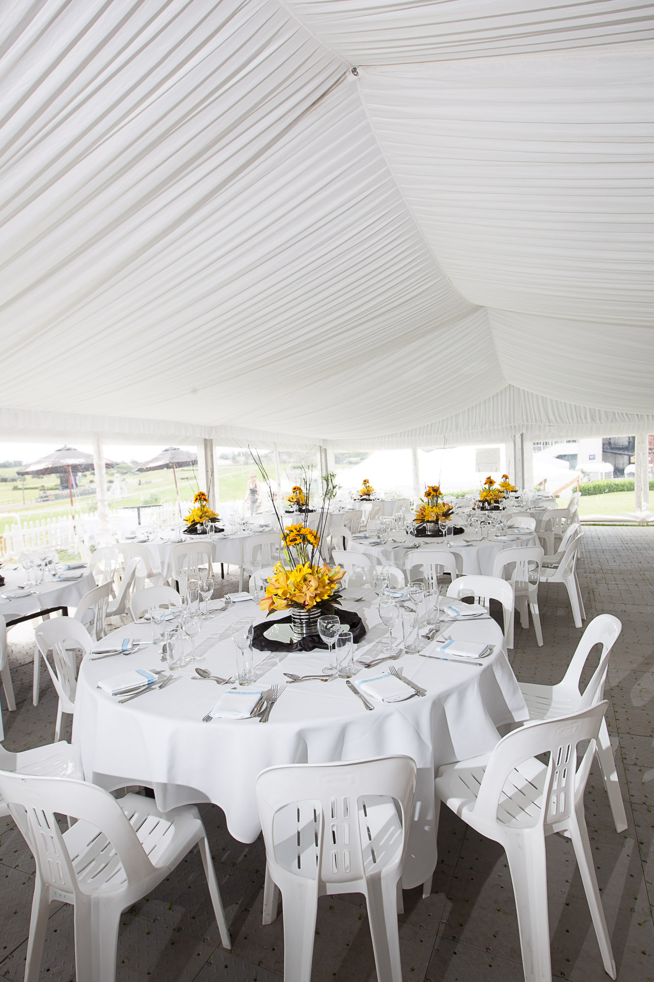 Our seasonal Champagne Lawn Marquee themed to suit an event