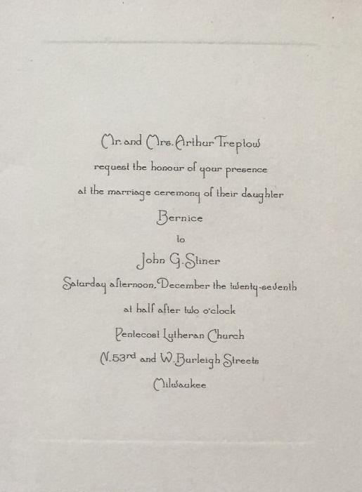 John and Bernice Stiner Wedding Invitati