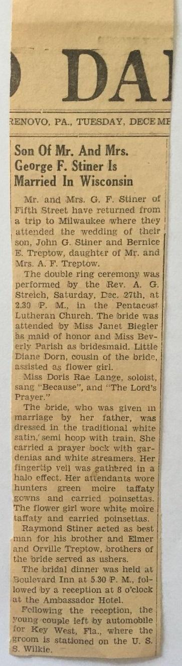 Newspaper Wedding Announcements for John