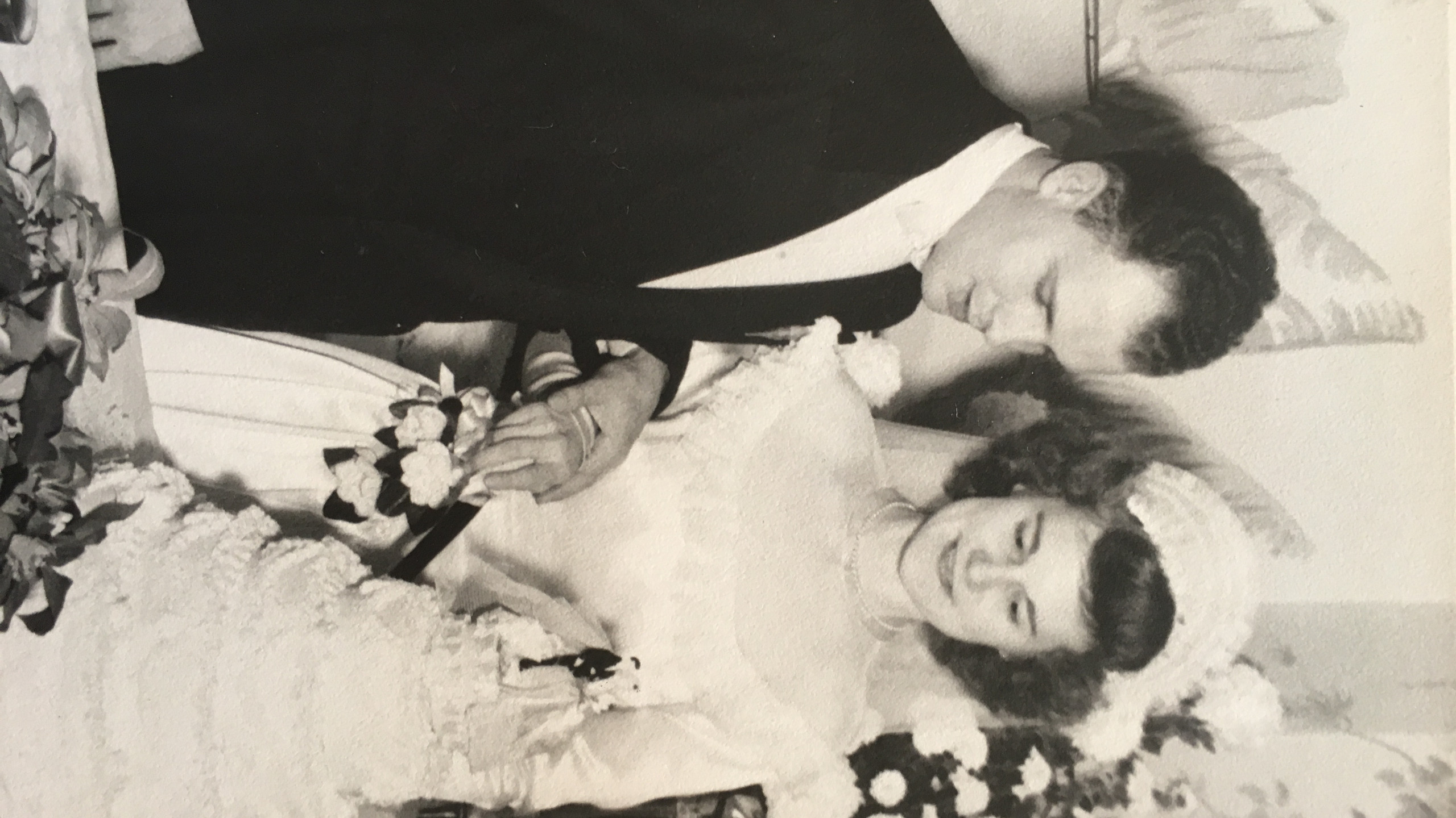 John and Bernice Stiner cutting wedding