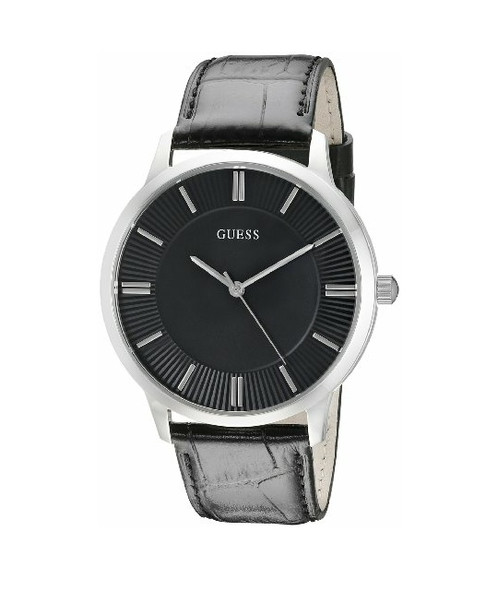 guess men s black watch lymshop com tienda virtual round watch black dial featuring placed indices textured outer dial and open lugs 43 mm stainless steel case mineral dial window quartz movement