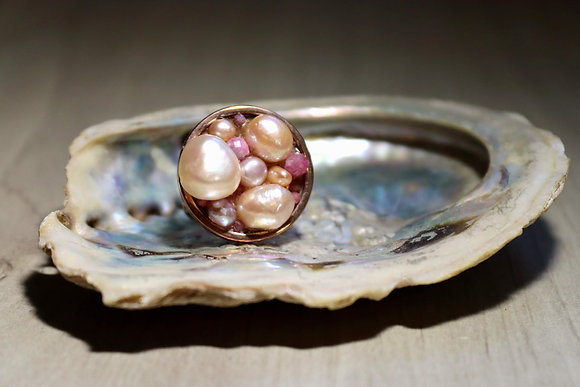 Ocean Love ring - Pearls and quarz crystal