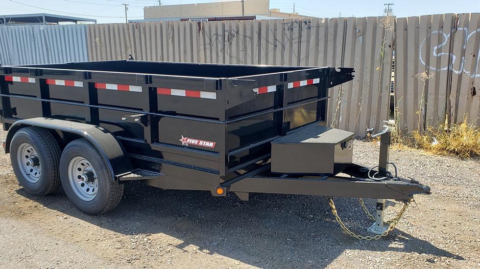 8.5x14 Five Star Tandem Axle Dump w/ Extended Sides, Ramps, & Tarp (14K)
