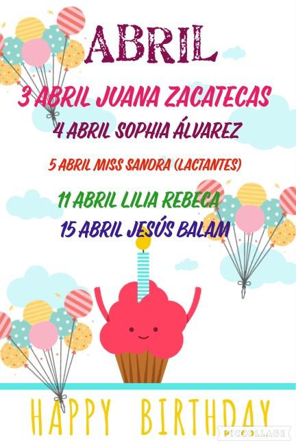 Cumpleaños ABRIL 2020