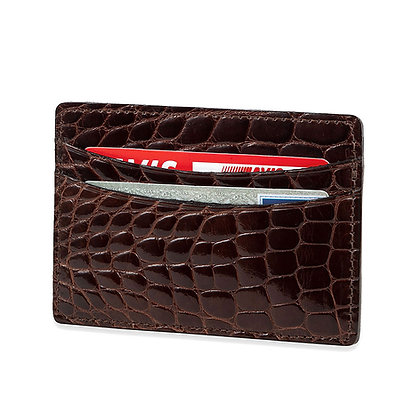 Torino - Genuine Alligator Flat Wallet Brown