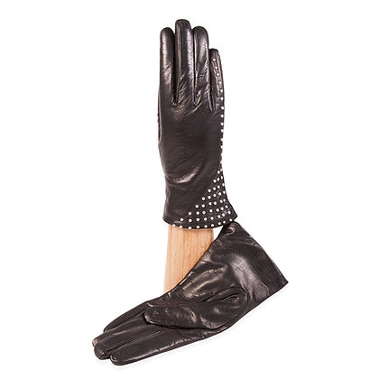 Caridie Gloves - Black Lambskin with Studs