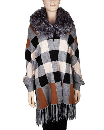 Belle Fare - Cashmere Blend Cape with Silver Fox