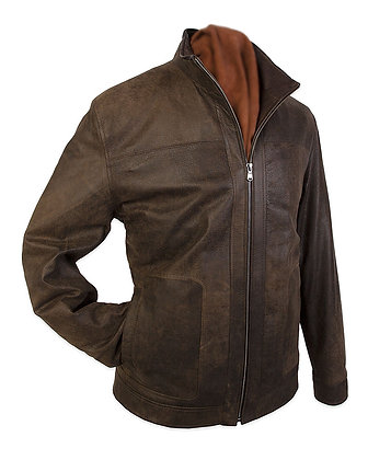 Remy Leather - Mens Funnel Neck, Exposed Zipper Jacket