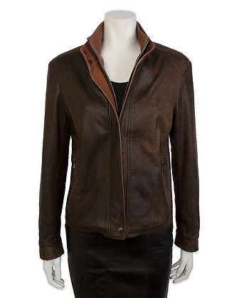 Remy - Women's Double Leather Collar Jacket