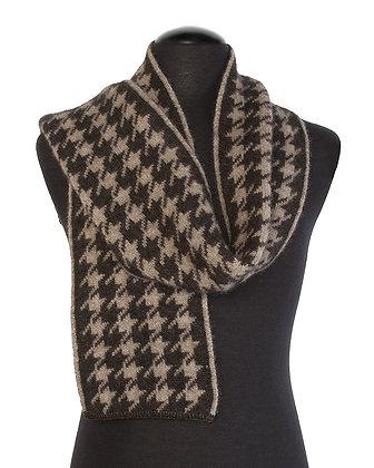 Koru - Houndstooth Fur Wool Silk Belnd Scarf