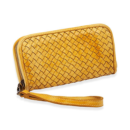 Barone - Woven Leather Zip Around Wallet