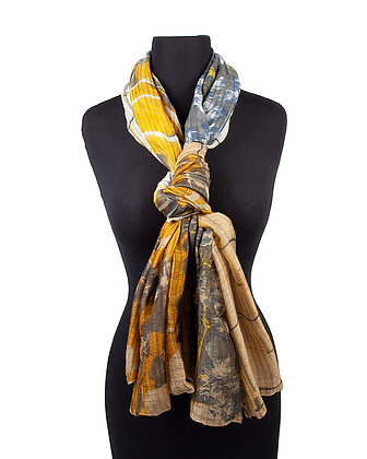 Atoll Palme - Silk and Wool Scarf