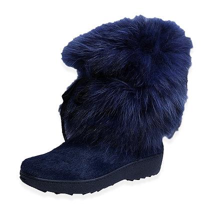 Regina - The Volpe Calfskin and Blue Fox Boot