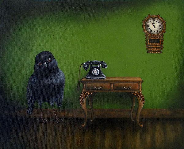 Black Robin Vintage Clock Retro Bakelite telephone