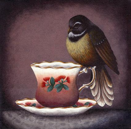 A Cup Of Tea & A Lie Down - Pohutukawa Percher   *Print