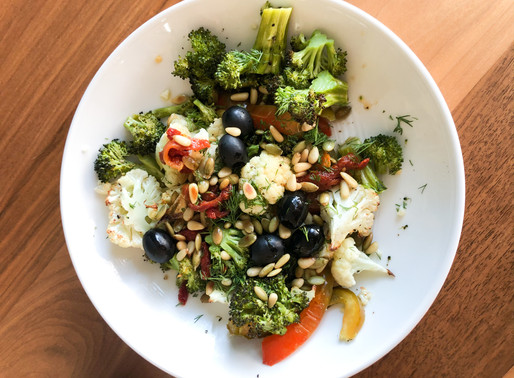 Roasted Veggies with Toasted Pine Nuts and Vinaigrette