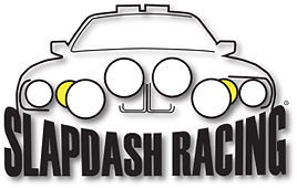 The Slapdash Racing logo, featuring a rally prepped E30 BMW.