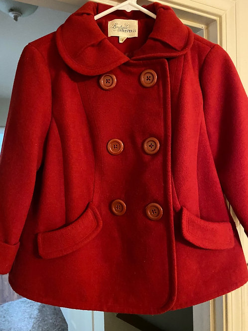 Red double breasted coat with six buttons